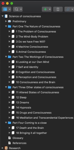 Science of consciousness table of contents